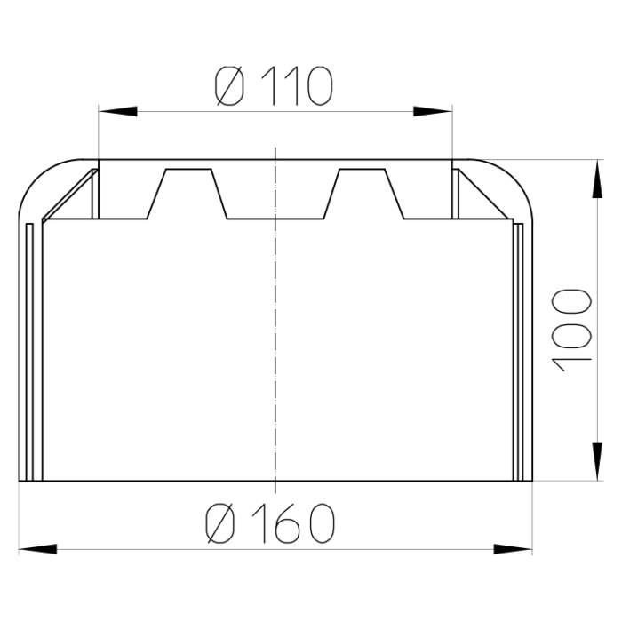 HL7.WE Декоративная розетка для унитазного патрубка DN110_cхема