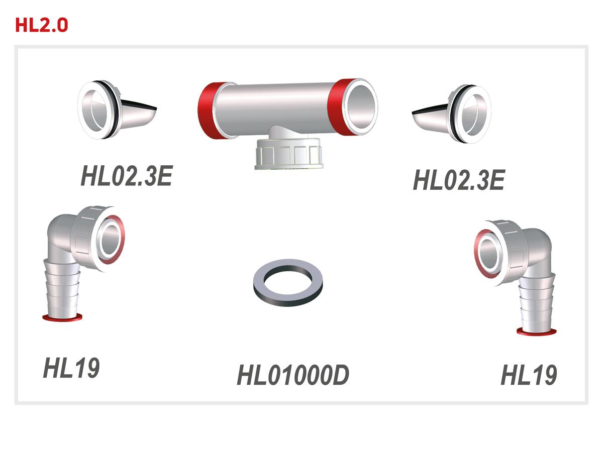 """Подвійне підключення для пральної і посудомийної машини 1"""" х 3/4"""" HL2.0"""