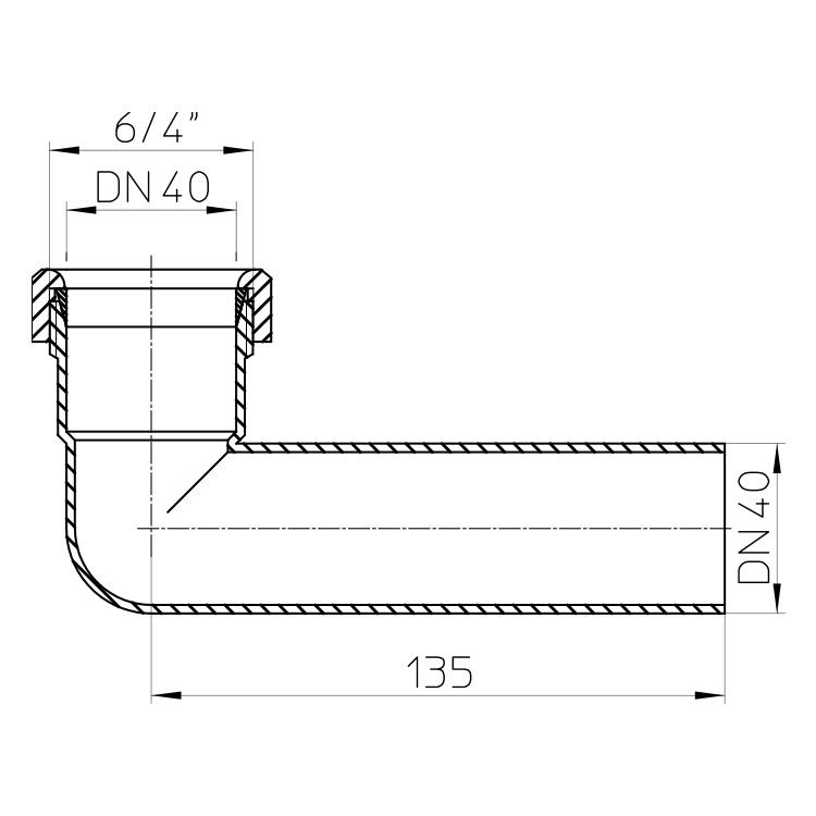 HL11 Кутовий патрубок-подовжувач 90°_cхема