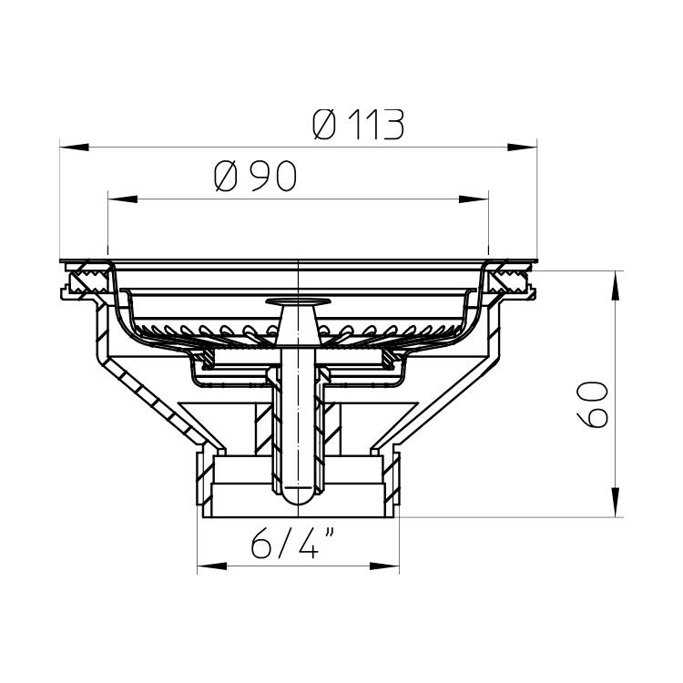 HL14/90 Випуск для кухонних мийок з пробкою