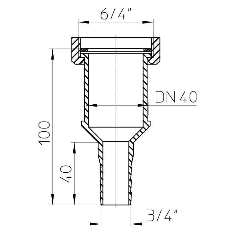 """HL17 Універсальне коліно-перехідник 6/4"""" х DN40 х 3/4""""_cхема"""
