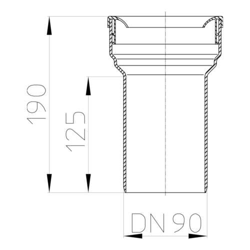 HL203/90WE Відвідний штуцер DN90_схема