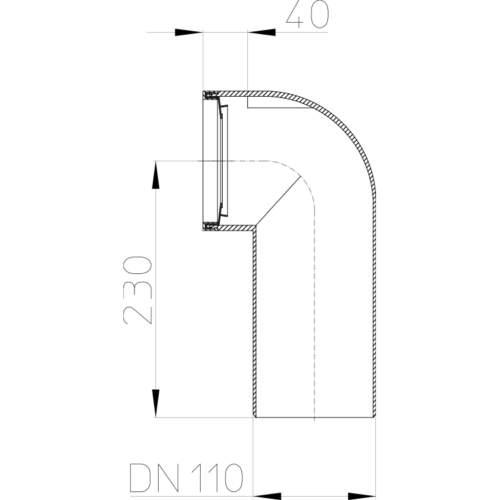 HL205 Відвідний патрубок DN110_схема
