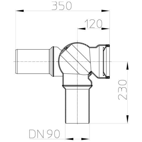 HL209.WE Відвідний патрубок DN90_схема