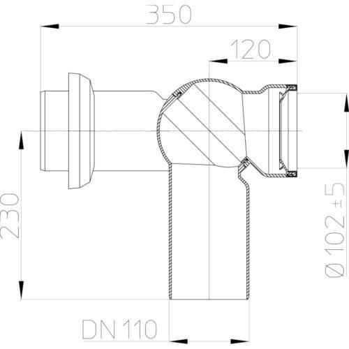 HL210.7WE Відвідний патрубок DN110_схема