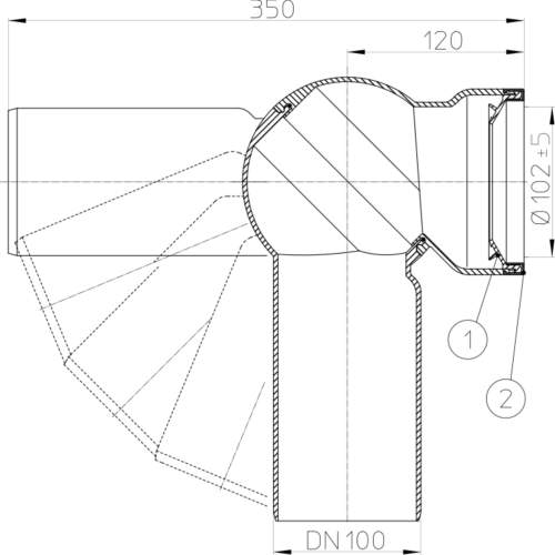 HL210P Відвідний патрубок DN100_схема