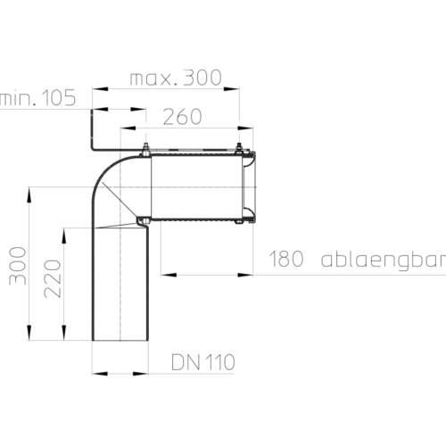HL224.1 Відвідний патрубок DN110_cхема