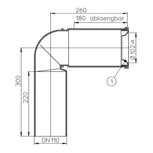 HL224.WE Відвідний патрубок DN110_схема