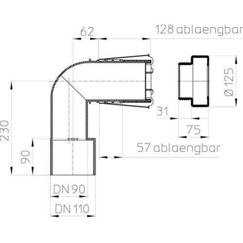 HL225/90 Відвідний патрубок DN90/110_схема