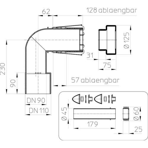 HL225.1/90 Відвідний патрубок DN90 / 110_cхема