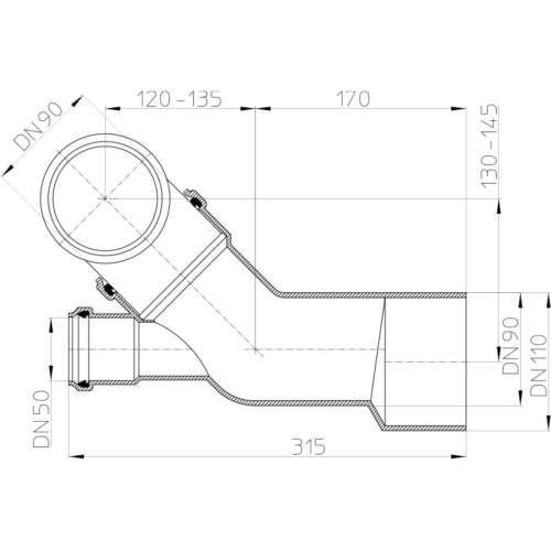 HL227 З'єднувальна комбінація DN90 / 110_схема