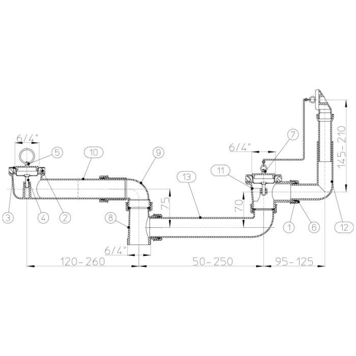 HL25U-6/4 Стічне з'єднання DN40_схема