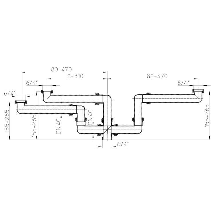 """HL28 Стічне з'єднання DN40 х 6/4""""_схема"""