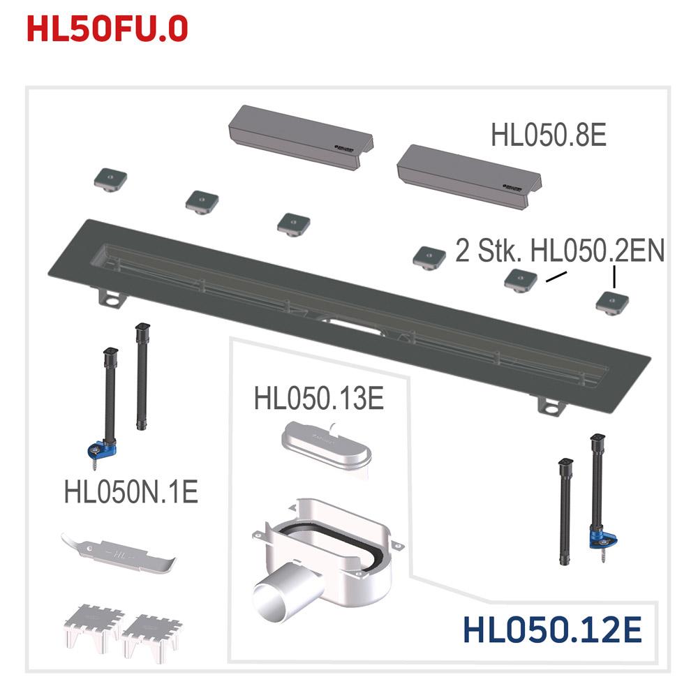 HL50FU.0 Душовий лоток зменшеною висоти для лінійного відведення води