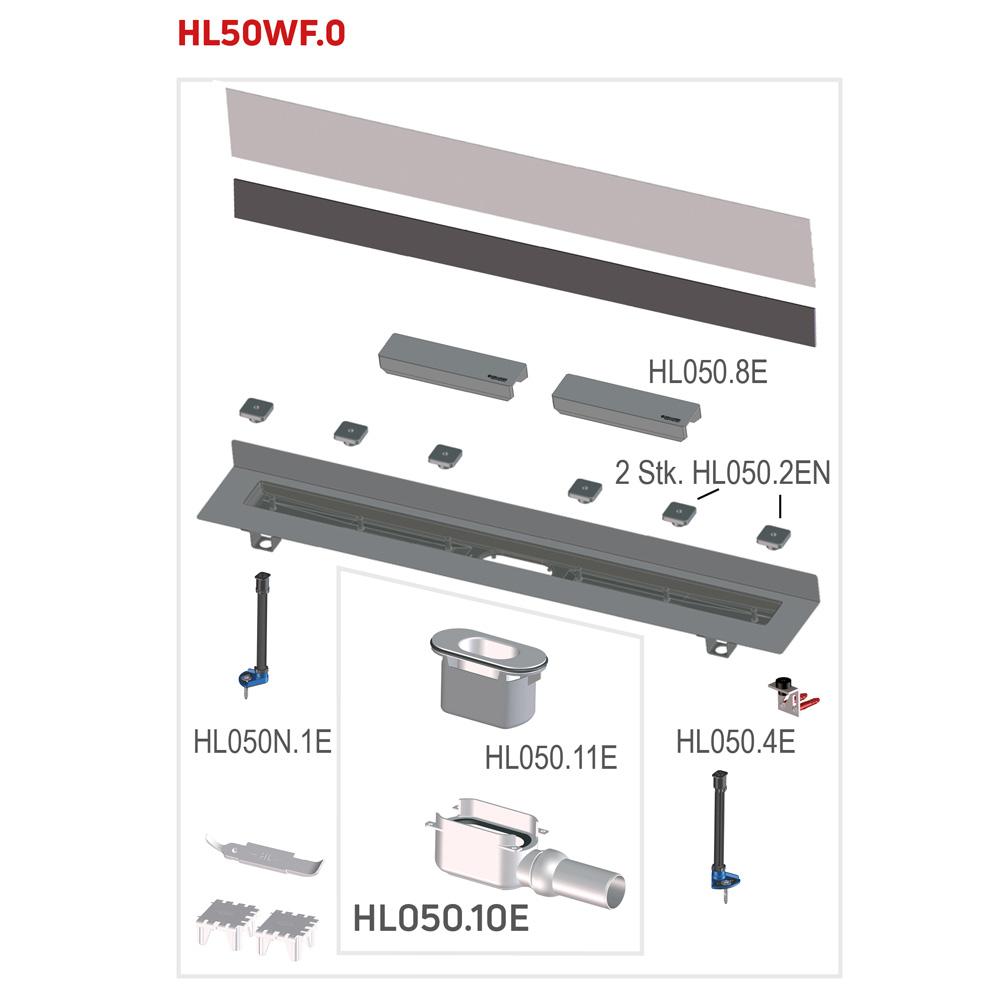 """HL50WF.0 Кутовий душовий лоток """"ПЛОСКОЇ"""" версії для лінійного відведення води"""