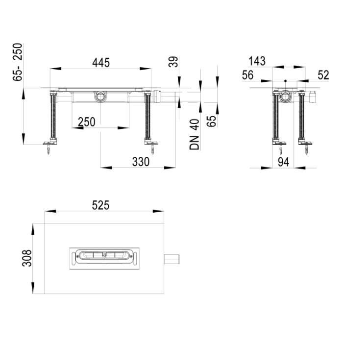 HL53KF Корпус плоского душового лотка InFloor DN40_схема