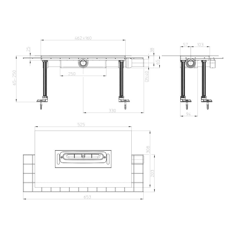 HL53KFC Корпус плоского душового лотка InFloor CeraDrain DN40_схема