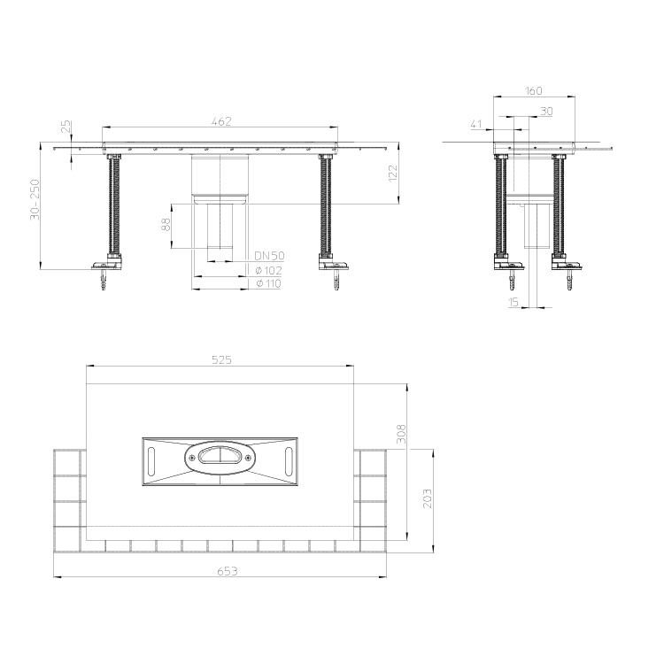 HL53KVC Корпус душового лотка InFloor CeraDrain_схема