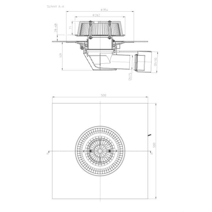 HL64.1HSafe Воронка для аварійного водостоку_схема