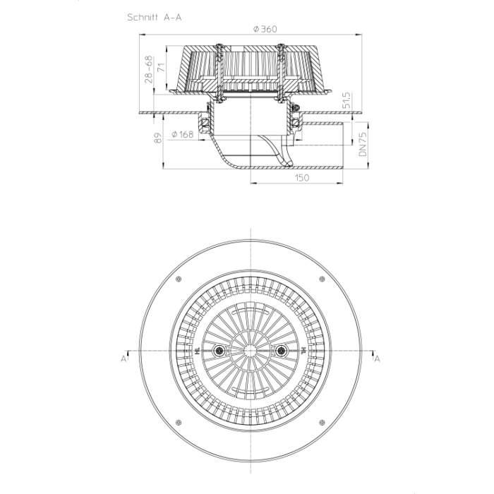 HL64FPowerSafe Воронка для водостоку_схема