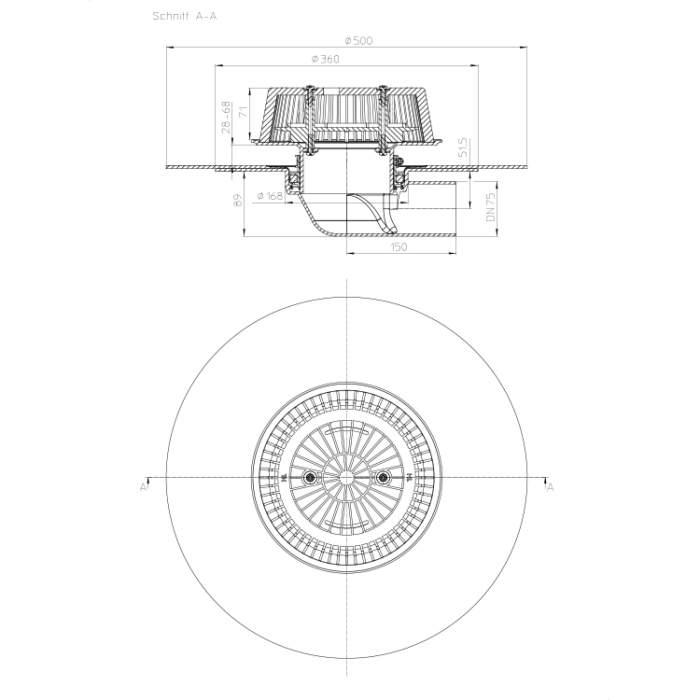 HL64HPowerSafe Воронка для аварійного водостоку_схема