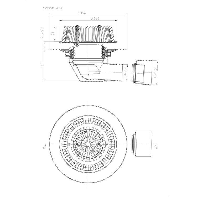 HL64Safe Воронка для аварійного водостоку_схема
