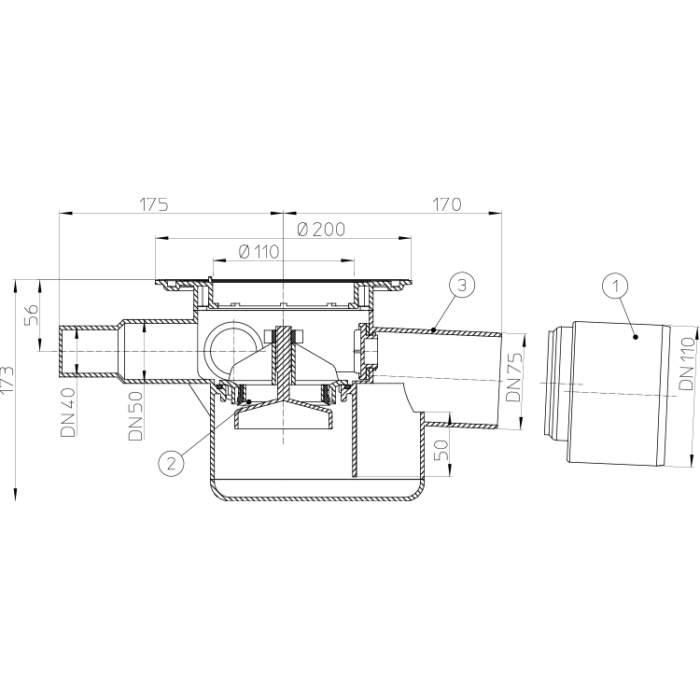 HL70K Трап для внутрішніх приміщень_cхема