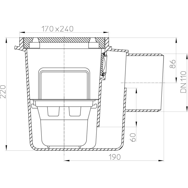 HL71G Трап для підвалів DN110_cхема