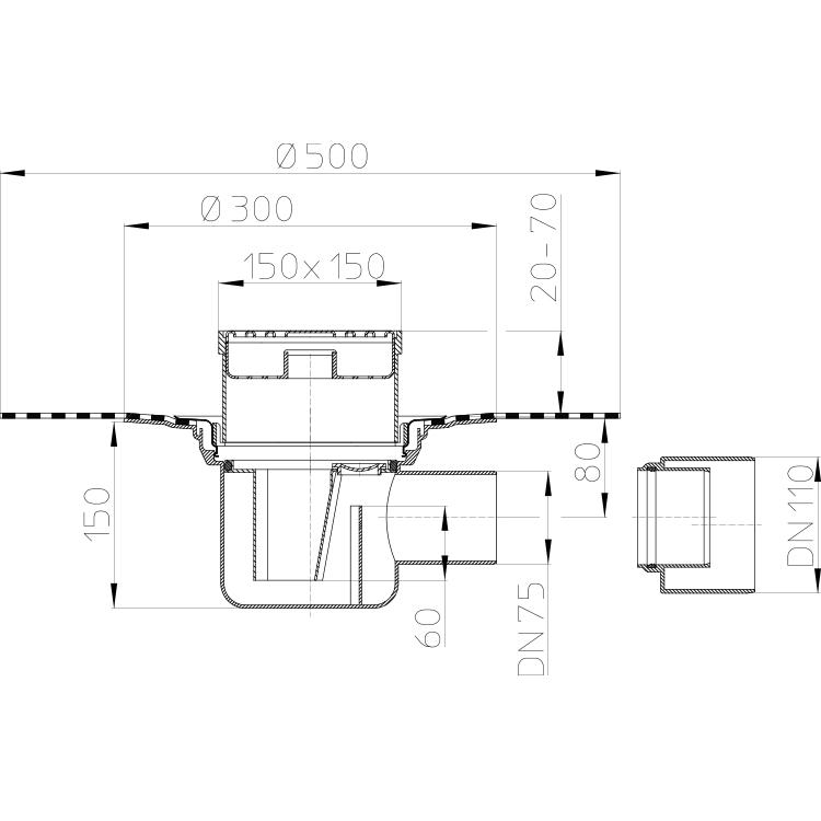 HL72.1HN Трап для внутрішніх приміщень DN75/110_cхема