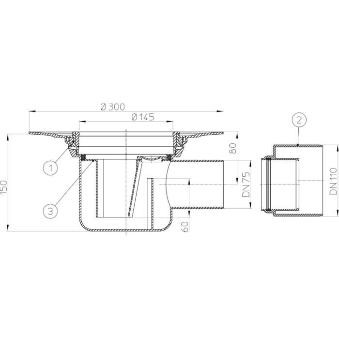 HL72.1K Корпус трапа для внутрішніх приміщень DN75_схема