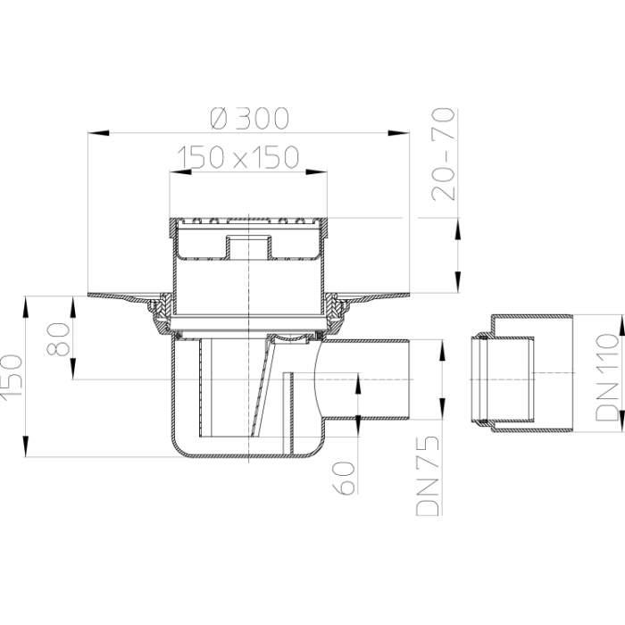 HL72.1N Трап для внутрішніх приміщень DN75 / 110_cхема