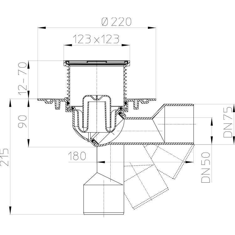 HL80.1 Трап для внутрішніх приміщень DN50 / 75_схема