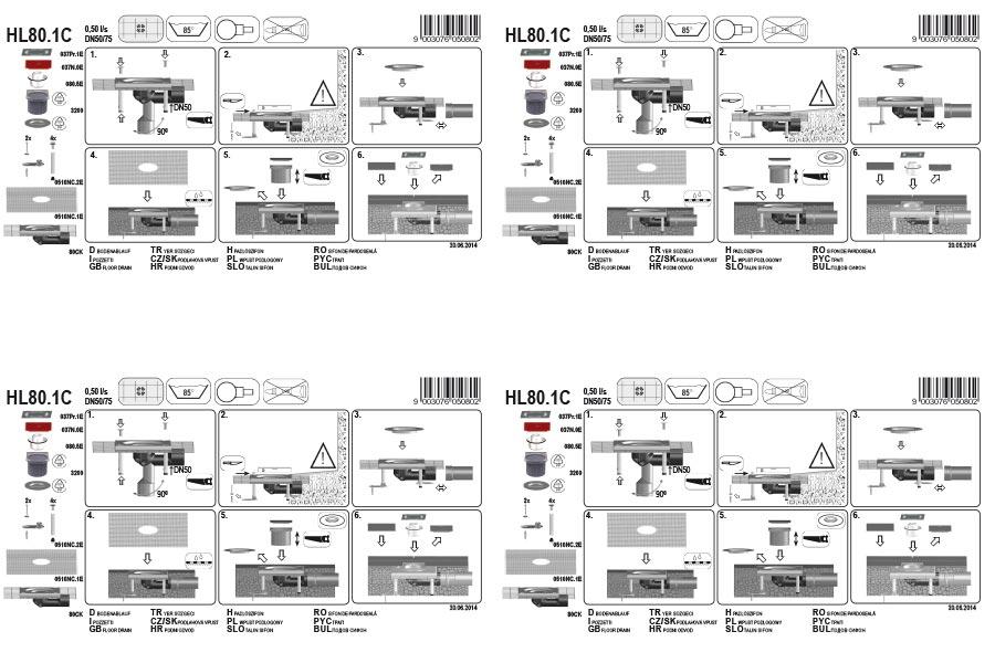 HL80.1C Трап для внутрішніх приміщень DN50 / 75_монтаж