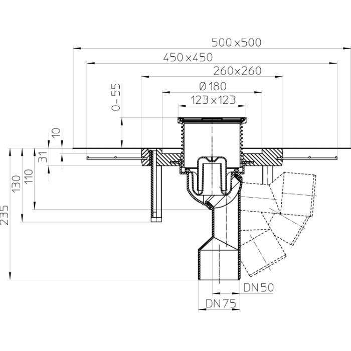 HL80.1C Трап для внутрішніх приміщень DN50 / 75_схема