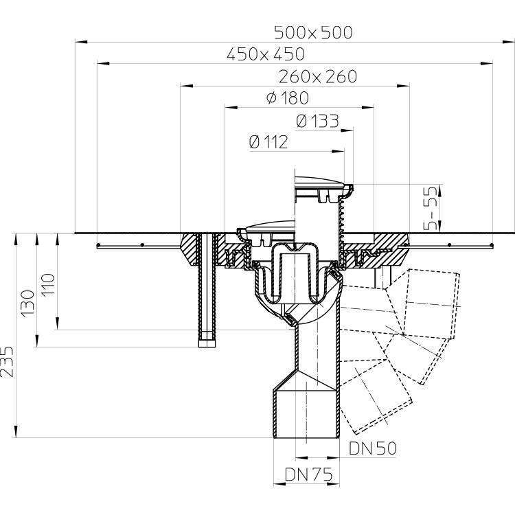 HL80.1CR Трап для внутрішніх приміщень DN50 / 75_cхема