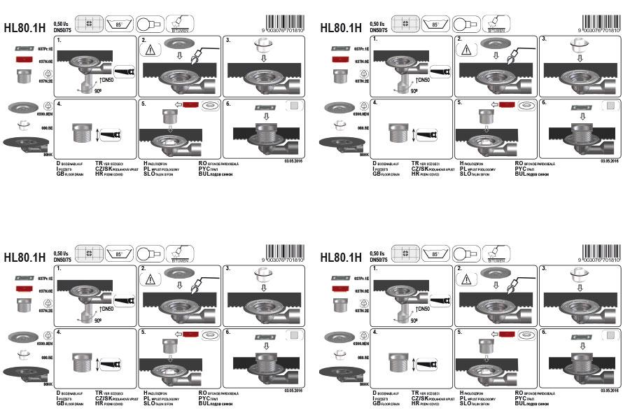 HL80.1H Трап для внутрішніх приміщень DN50 / 75_монтаж