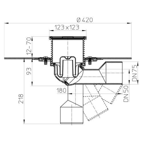 HL80.1H Трап для внутрішніх приміщень DN50 / 75_cхема