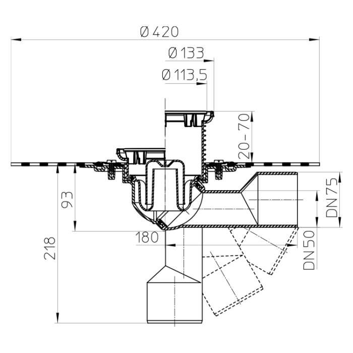 HL80.1HR Трап для внутрішніх приміщень DN50 / 75_scheme