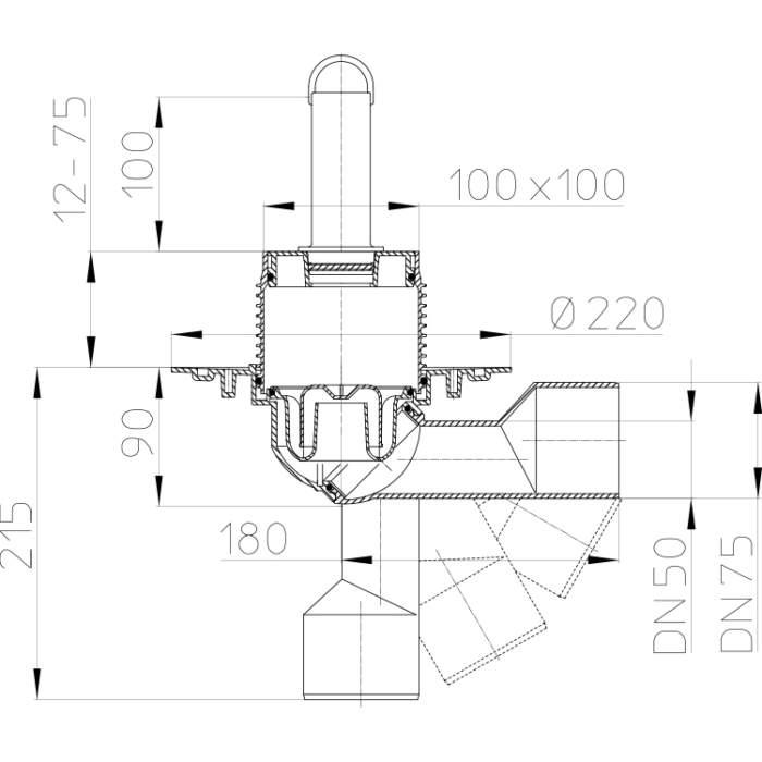 HL80.2 Трап для внутрішніх приміщень DN50 / 75_схема