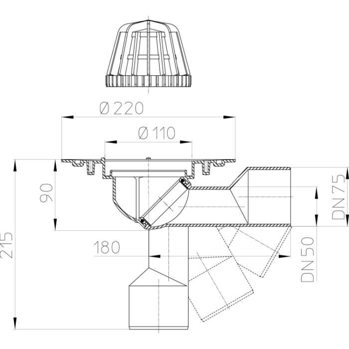 HL80.3 Трап для покрівлі DN50 / 75_схема