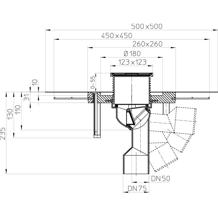 HL80CK Корпус трапа DN50/75_схема