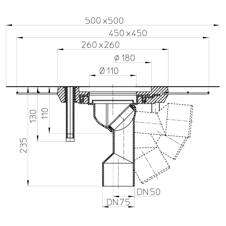 HL80CK Корпус трапа DN50/75_cхема