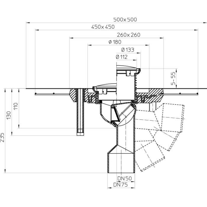 HL80CR Трап для балконів і терас DN50 / 75_схема