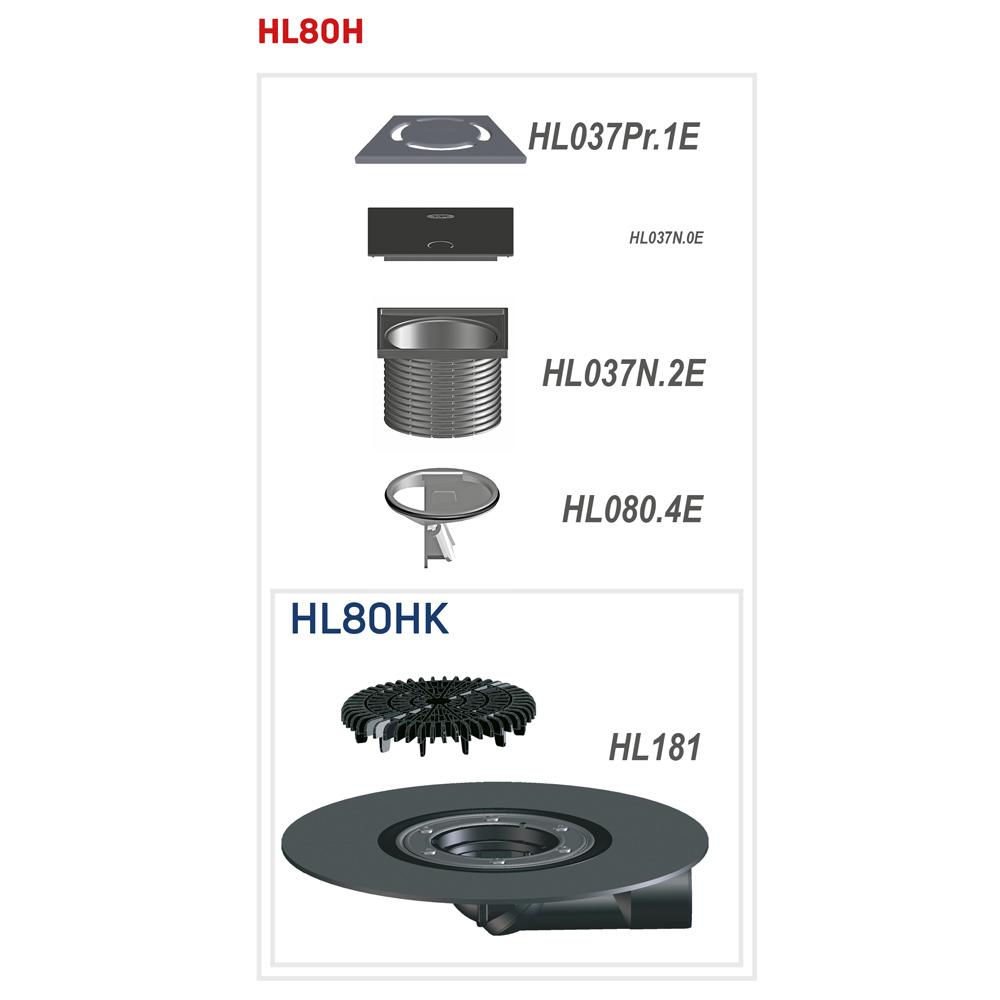 HL80H Трап для балконів і терас DN50 / 75__