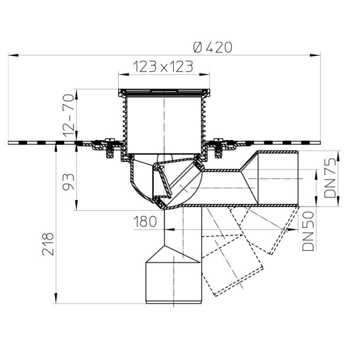 HL80H Трап для балконів і терас DN50 / 75_схема