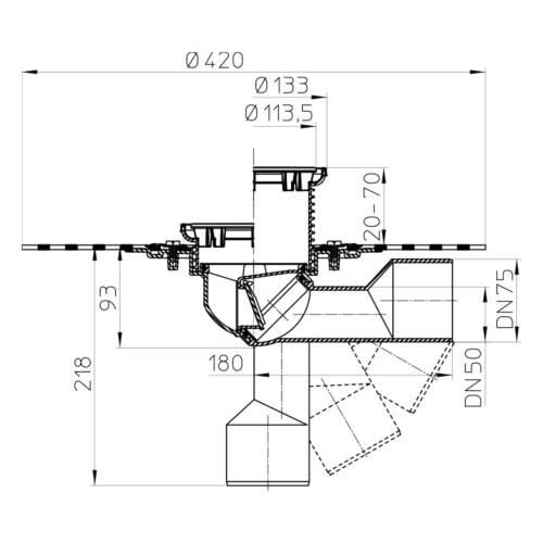 HL80HR Трап для балконів і терас DN50 / 75_схема