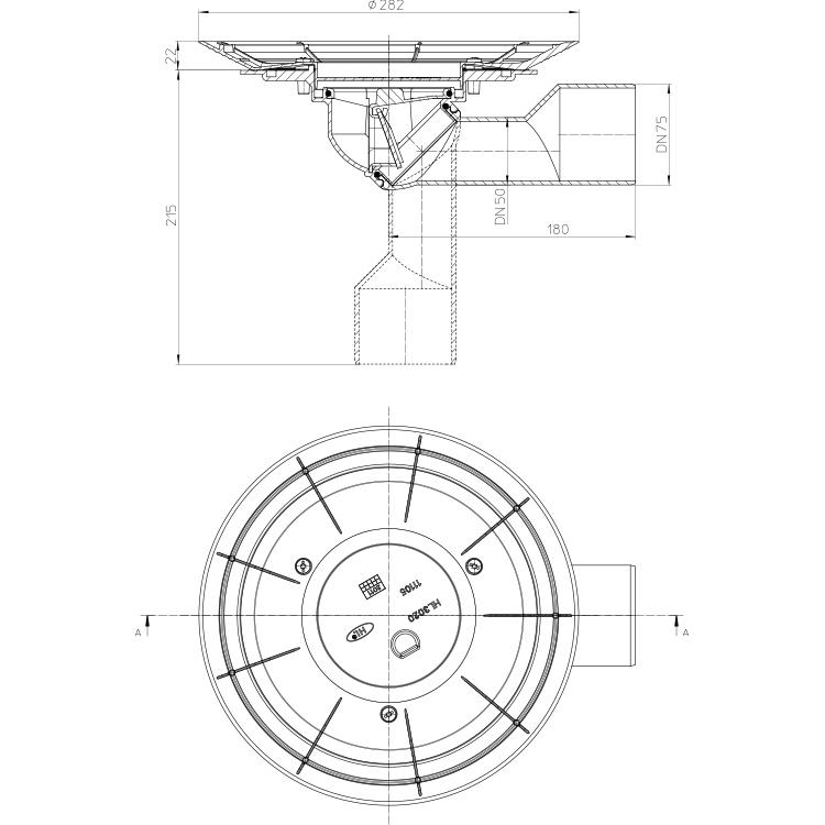 HL80K-3020 Корпус трапа для балконів і терас DN50 / 75_схема