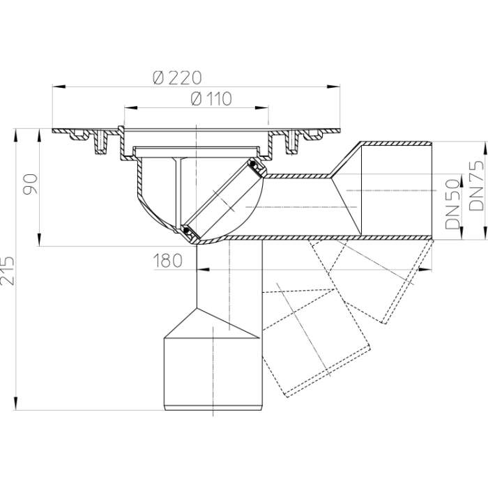HL80K Корпус трапа DN50 / 75_схема