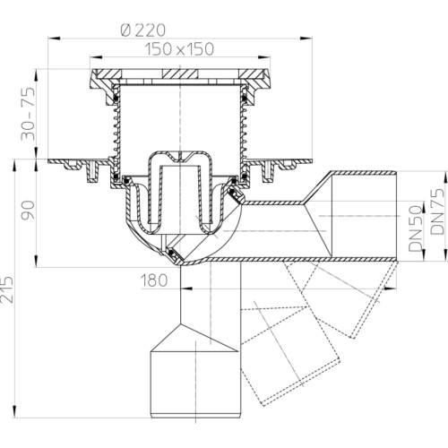 HL81.1G Трап для внутрішніх приміщень DN50 / 75_схема