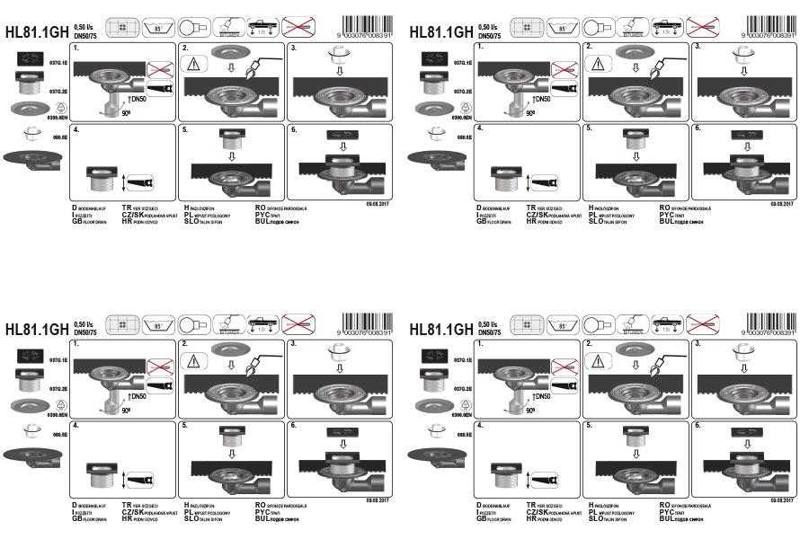 HL81.1GH Трап для внутрішніх приміщень DN50 / 75_монтаж